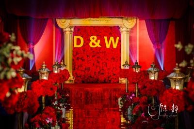 中国红红色婚礼,橙色婚礼,室内婚礼,中国风婚礼,西式婚礼