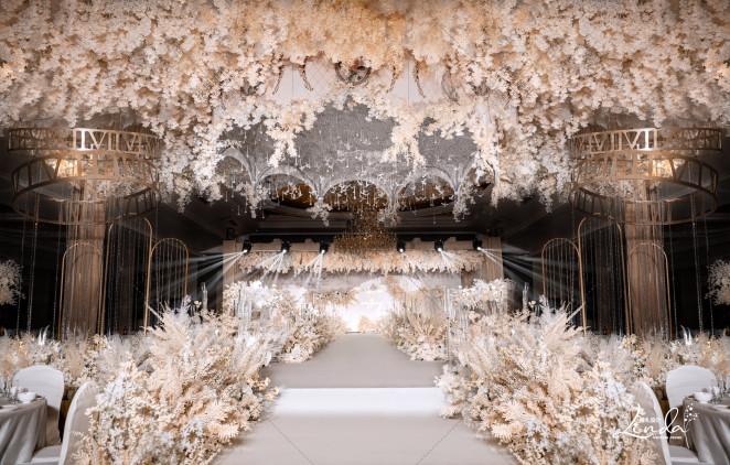 轻奢香槟色婚礼丨繁花入梦-白室内梦幻婚礼照片