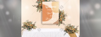 珊瑚橙-橙黄室内小清新婚礼照片