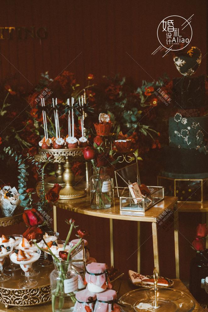 远方,为你婷留-红室内大气婚礼照片