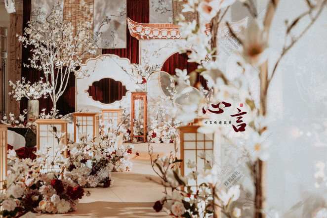 愿得一人心,白首不相离-红室内唯美婚礼照片
