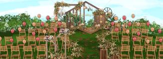 秋天的风-橙黄草坪森系婚礼照片