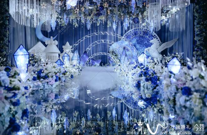 《仰望星空》-蓝室内主题婚礼照片