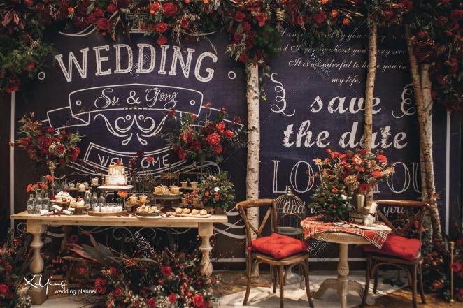 圣诞结-红室内小清新婚礼照片