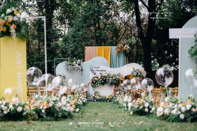 你逆光而来配得上这世间所有温柔-绿草坪小清新婚礼照片