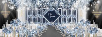 北海道恋人-蓝室内大气婚礼照片