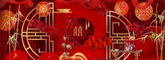 红窗影-红室内新中式婚礼照片