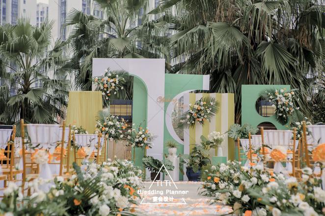 户外露台婚礼-绿户外韩式婚礼照片