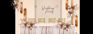 奶茶与焦糖色-黄室内唯美婚礼照片