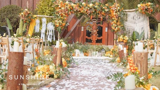 橙光-黄草坪小清新婚礼照片