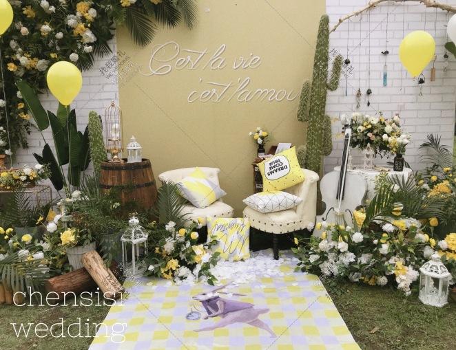 听见风铃的声音-绿草坪森系婚礼照片