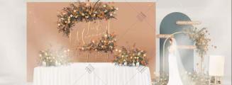 默契-橙黄室内主题婚礼照片