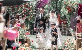 森湖山庄-户外大太阳哈哈婚礼图片
