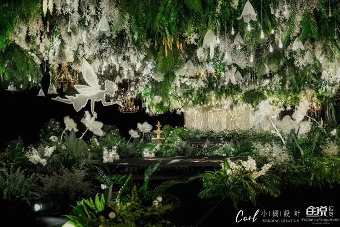 《唤醒》-绿室内森系婚礼照片