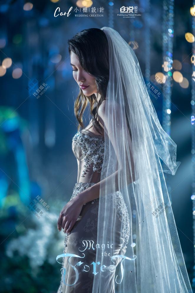 如梦之境-蓝室内唯美婚礼照片