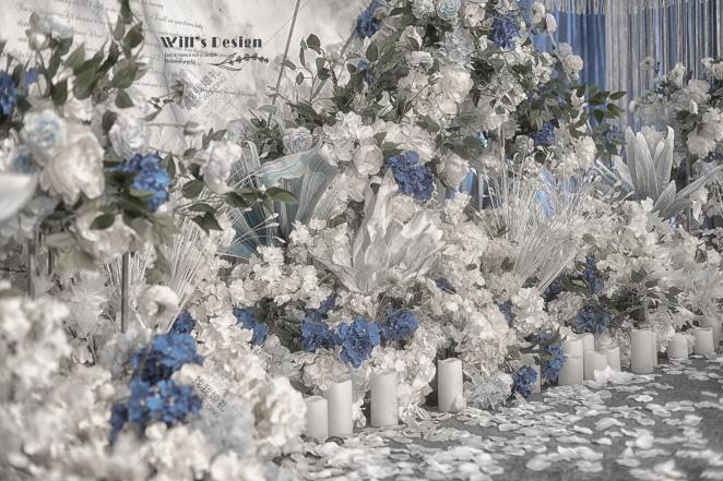 室内大气蓝色婚礼案例效果图