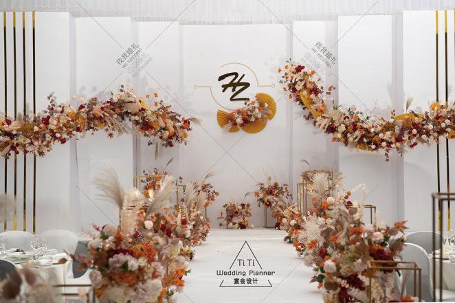 极简主义   泰式婚礼-橙黄室内主题婚礼照片
