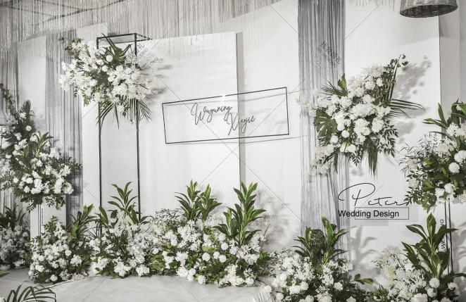 韩式-绿室内小清新婚礼照片